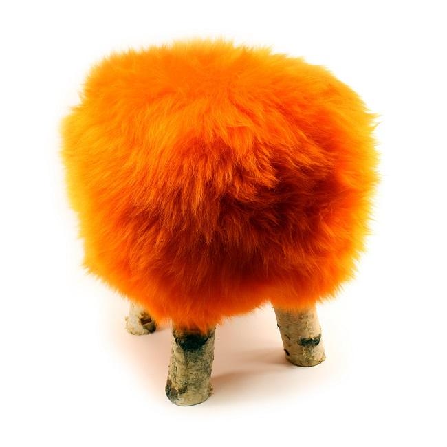 tabouret pouf en peau de mouton orange grossiste importateur direct tannerie vente en gros france poil ras p
