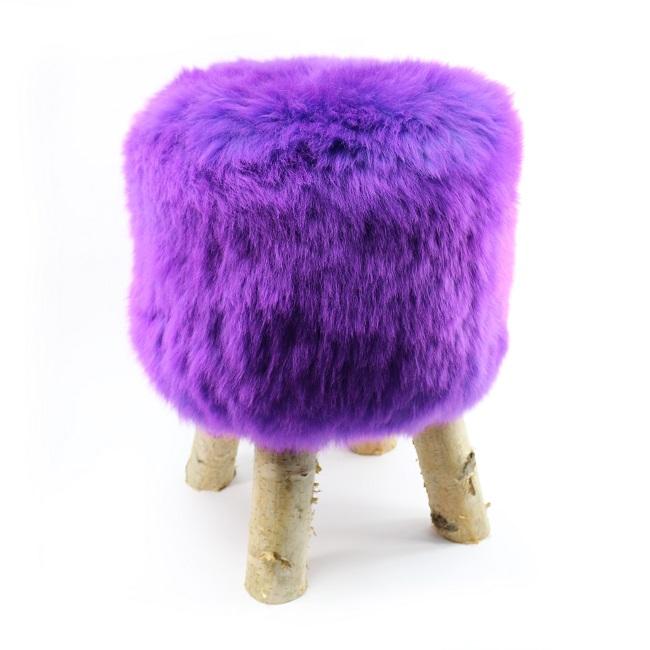 tabouret pouf en peau de mouton violet mauve grossiste importateur direct tannerie vente en gros france poil ras p
