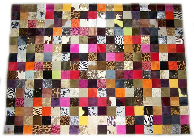 Tapis en patchwork peau de vache Paris dt collection direct tannerie importateur grossiste vente en gros fournisseur