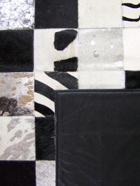 Tapis en patchwork peau de vache cuir Fantaisie noir et blanc direct tannerie