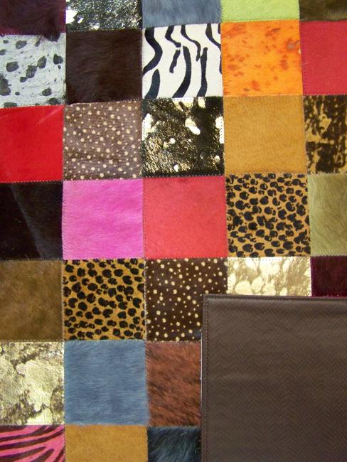 Tapis en patchwork peau de vache paris cuir direct tannerie