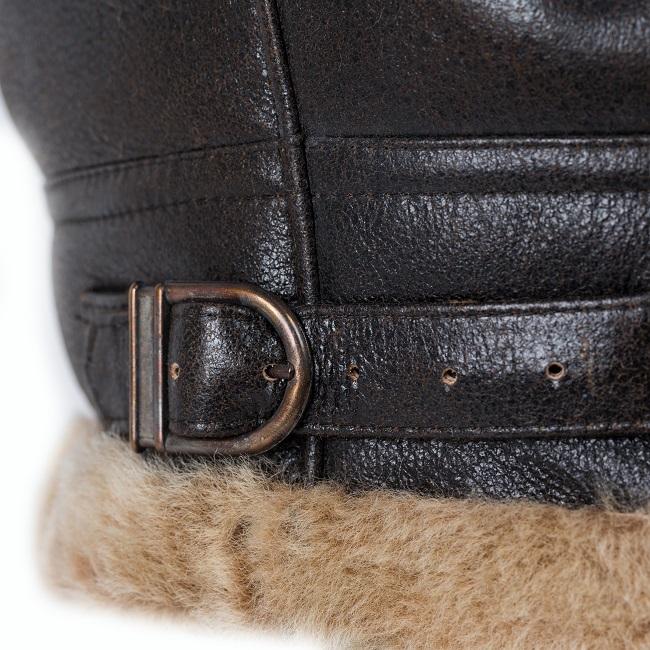 Veste courte en peau cuir marron vieilli agneau double face intérieur fourrure naturelle camel mouton bombardier homme blouson zip bobby boucle direct tannerie vente gros