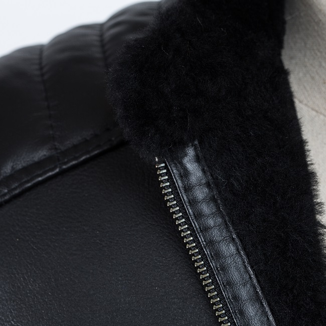 Veste courte en peau cuir noir agneau double face intérieur fourrure naturelle noire mouton bombardier homme blouson zip grossiste importateur