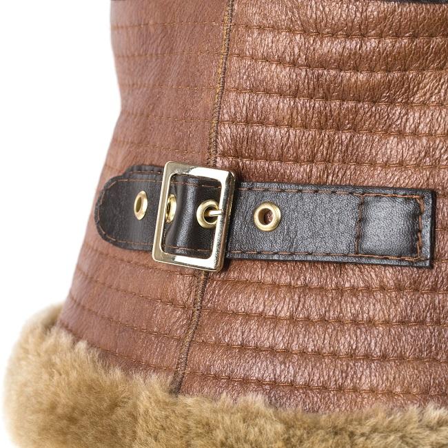 Veste femme zyon caramel en peau d`agneau double face fourrure mouton intérieur peau lainée cuir marron clair fourrure laine brun court fermeture zip poche couture bombardier vente en gros
